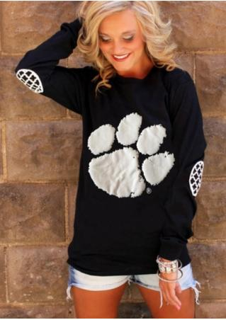 Bear Claw Printed Long Sleeve Blouse