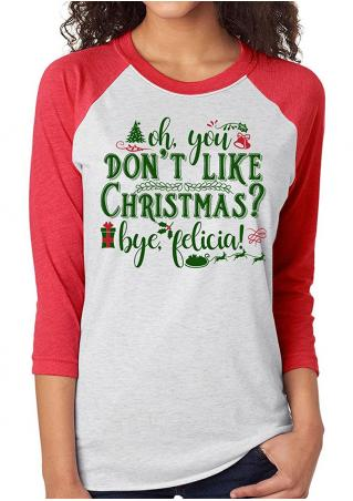 Christmas Letter Printed Splicing T-Shirt