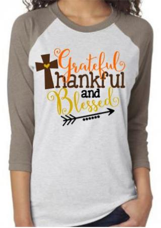 THANKFUL Letter Arrow Printed Splicing T-Shirt