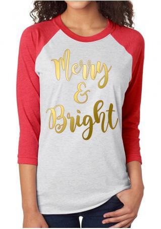 MERRY BRIGHT Printed Splicing T-Shirt