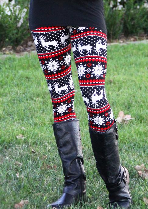Christmas Reindeer Snowflake Printed Skinny Leggings