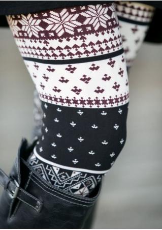 Christmas Geometric Printed Stretchy Leggings Christmas