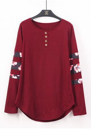 Button Splicing Long Sleeve Blouse Button