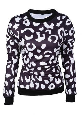 Leopard Printed Long Sleeve Sweatshirt