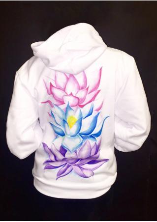 Lotus Printed Kangaroo Pocket Hoodie