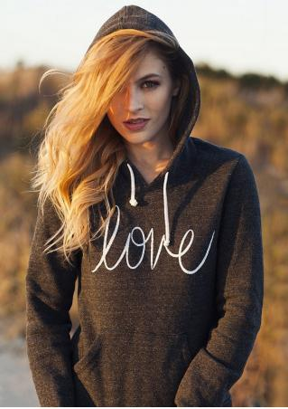 LOVE Printed Kangaroo Pocket Drawstring Hoodie