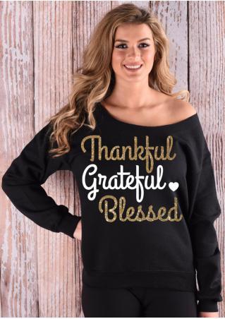Thankful Letter Slash Neck Sweatshirt