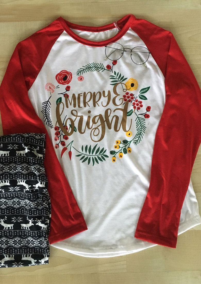Merry Bright Printed Splicing Long Sleeve T Shirt