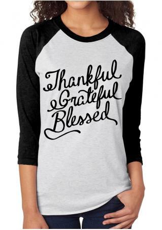 Thankful Printed Splicing T-Shirt