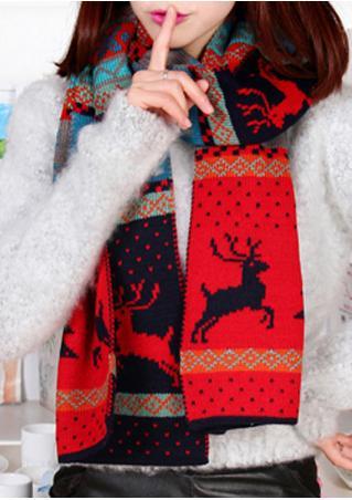 Christmas Reindeer Printed Scarf