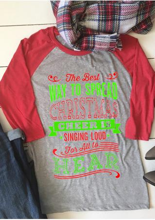 Christmas Letter Printed Three Quarter Sleeve T-Shirt Christmas