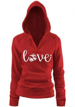 Love Printed Kangaroo Pocket Casual Hoodie