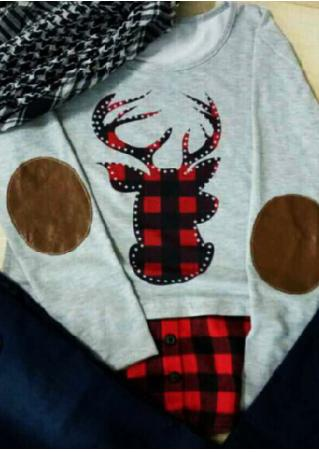 Christmas Reindeer Plaid Elbow Patch Blouse