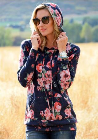 Floral Printed Long Sleeve Hoodie