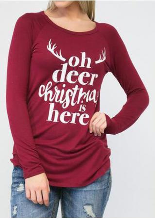 Christmas Letter Printed Long Sleeve T-Shirt Christmas