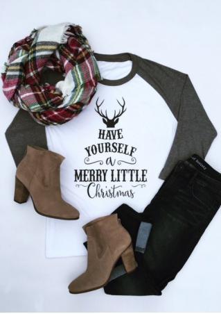 Christmas Reindeer Letter Printed T-Shirt Christmas