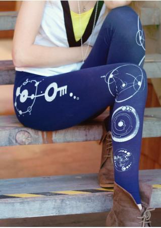 Circle Key Printed Skinny Leggings