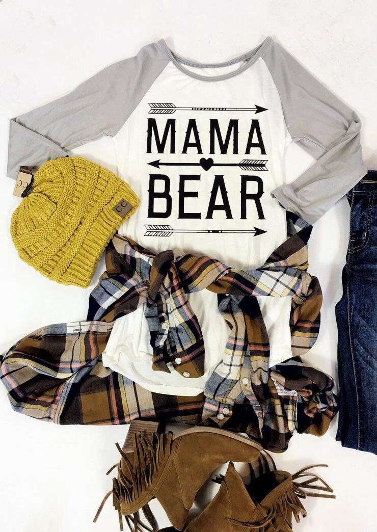MAMA BEAR Arrow Printed T-Shirt - Fairyseason