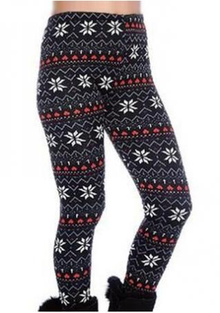 Christmas Snowflake Printed Stretchy Leggings