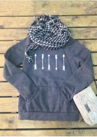 Arrow Printed Casual Sweatshirt Without Scalf Arrow