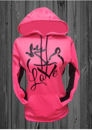 Christmas Love Printed Kangaroo Pocket Hoodie