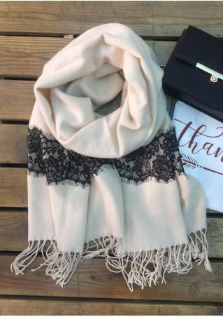 Lace Tassel Button Scarf Lace