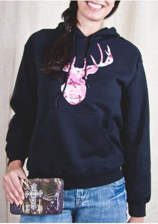 Christmas Reindeer Printed Kangaroo Pocket Casual Hoodie