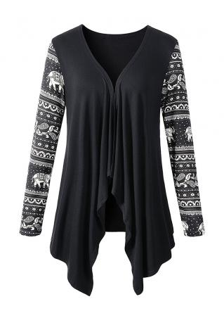 Asymmetric Splicing Long Sleeve Cardigan