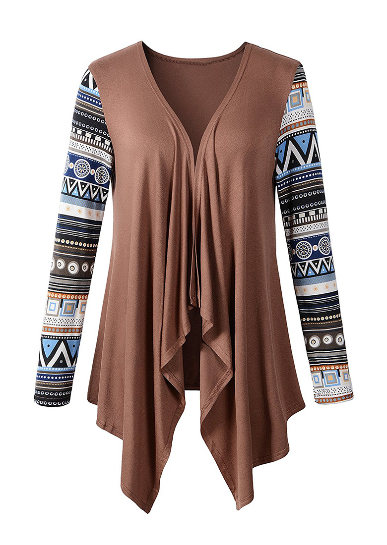 Image of Asymmetric Splicing Long Sleeve Cardigan