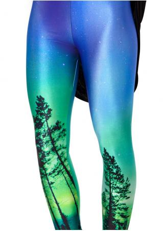 Tree Printed Stretchy Skinny Leggings
