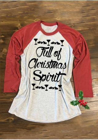 Christmas Printed Splicing T-Shirt