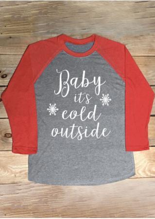 Christmas Letter Snowflake Printed Splicing T-Shirt Christmas