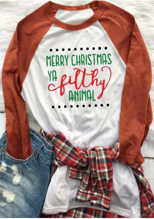Christmas Letter Printed Trendy T-Shirt