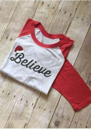 Christmas Believe Printed Splicing T-Shirt Christmas