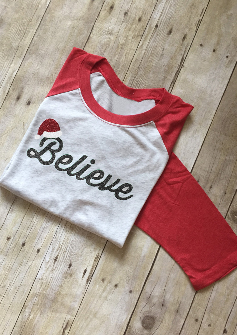 christmas believe printed splicing t shirt fairyseason