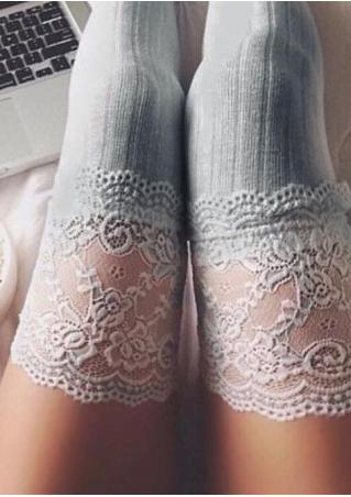 Floral Lace Thigh High Socks