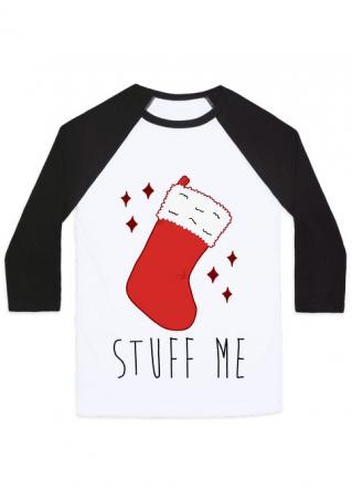 Christmas Sock Letter Printed Splicing T-Shirt Christmas