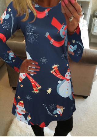 Christmas Snowman Printed Casual Mini Dress