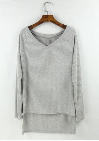 Solid Asymmetric V-Neck Knitted Blouse