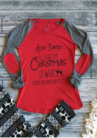 Christmas Letter Printed Splicing Elbow Patch T-Shirt Christmas
