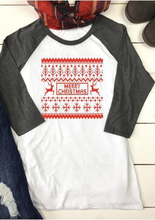 Christmas Reindeer Snowflake Printed Splicing T-Shirt Christmas