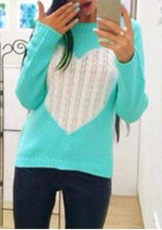Heart knitted Long Sleeve Sweater
