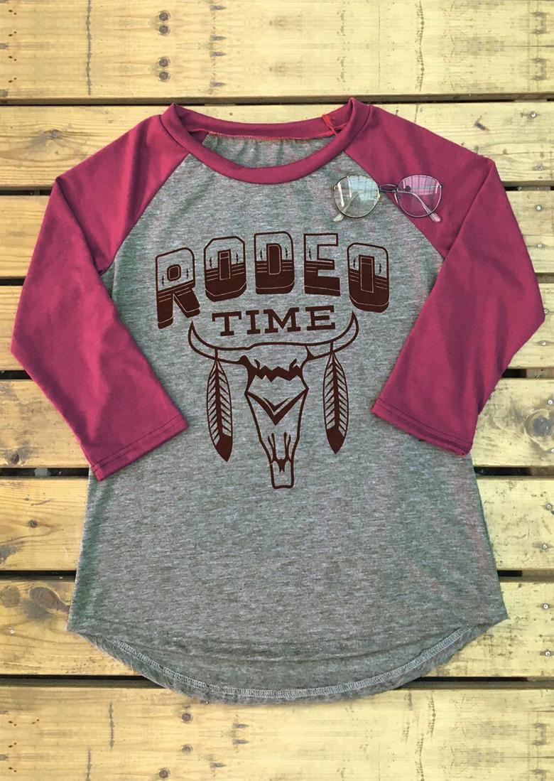 Rodeo Time Cattle Printed Asymmetric T Shirt Fairyseason