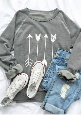Arrow Printed Long Sleeve O-Neck Sweatshirt Arrow