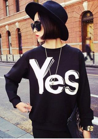 Yes No Printed Sweatshirt Without Necklace