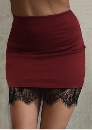 Lace Splicing Stretchy Sexy Skirt