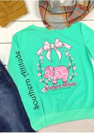 Piggy Letter Printed Long Sleeve Sweatshirt