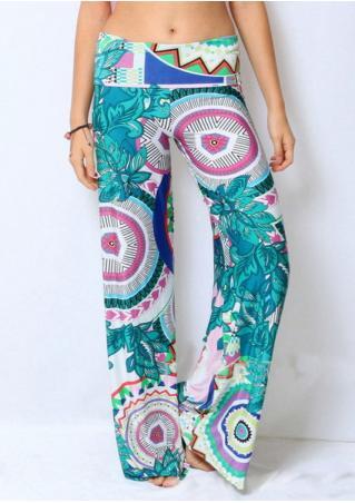 Printed Straight Loose Wide Leg Pants
