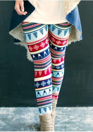Christmas Reindeer Snowflake Printed Stretchy Skinny Leggings Christmas