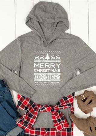 MERRY CHRISTMAS Reindeer Printed Hoodie